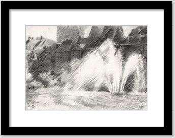 impressionist urban graphite pencil drawing framing example