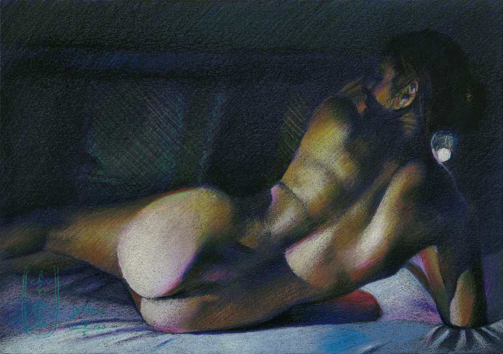 realist nude colored pencil drawing