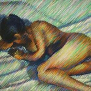 impressionist nude pastel drawing