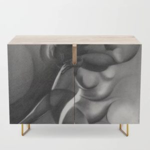 cubist nude graphite pencil drawing credenza mockup
