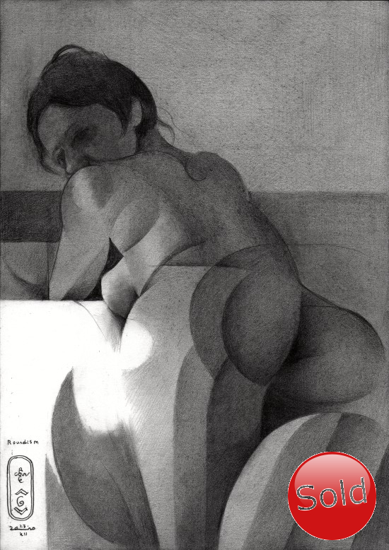 cubist nude graphite pencil drawing promotion