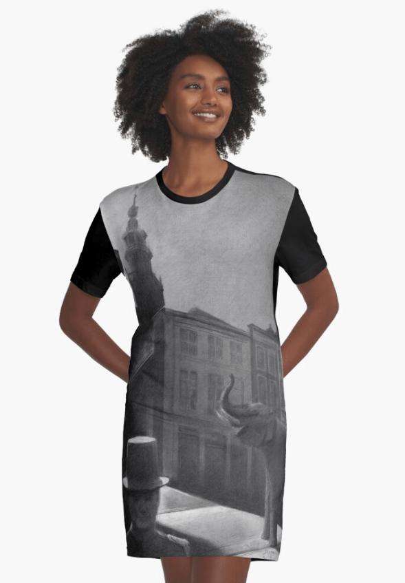 surrealist urban graphite pencil drawing graphic t-shirt dress mockup