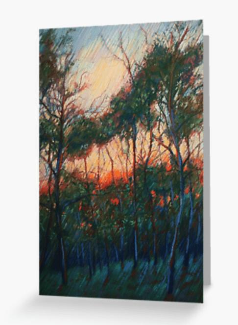 impressionist treescape pastel drawing greeting card mockup