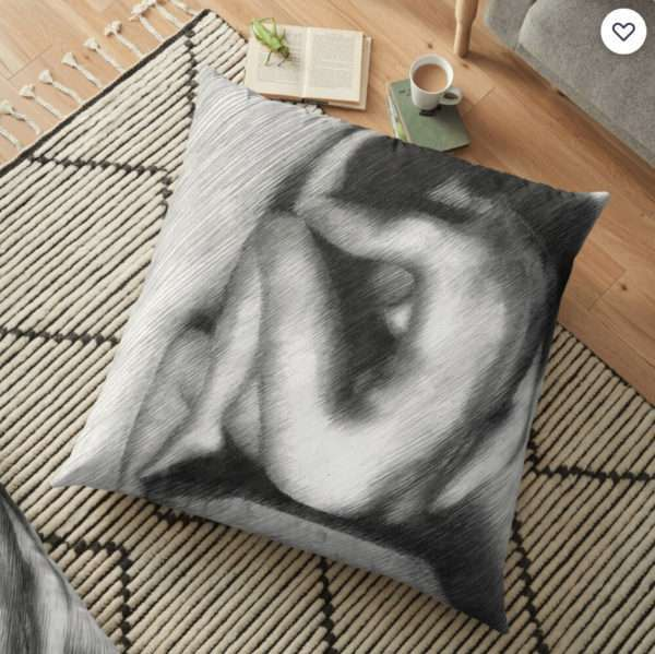 impressionist nude graphite pencil drawing floor pillow mockup