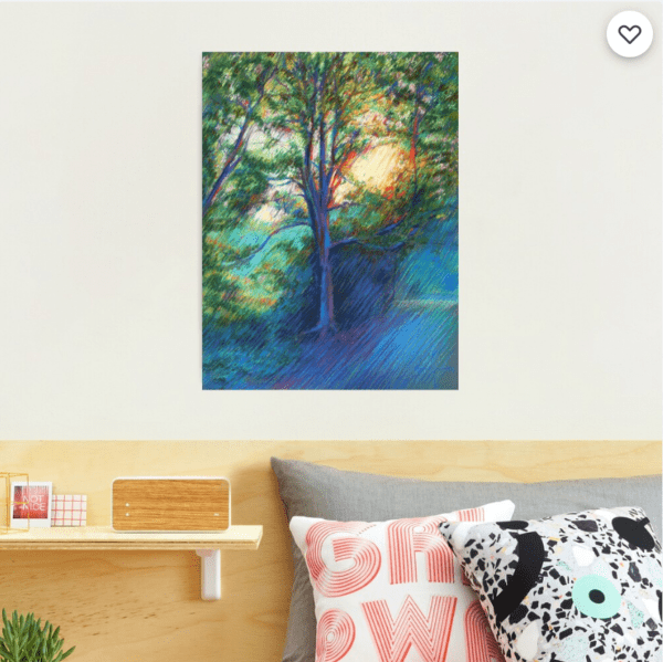 impressionist treescape pastel drawing photographic print mockup