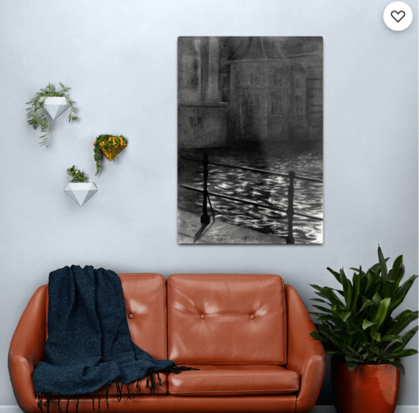 impressionist urban graphite pencil drawing metal print mockup