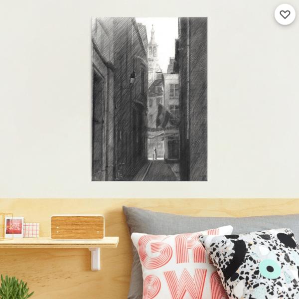 impressionist urban graphite pencil drawing photographic print mockup