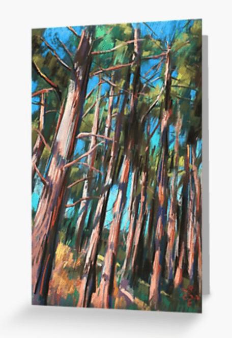 impressionist landscape pastel drawing greeting card mockup