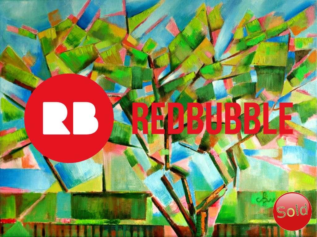 cubistic treescape oil painting promotion
