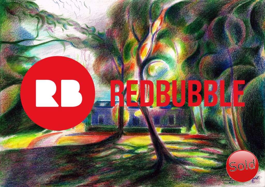 cubist landscape colored pencil drawing promotion