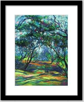 cubist treescape pastel drawing framing example