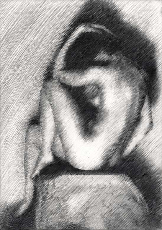 impressionist nude graphite pencil drawing