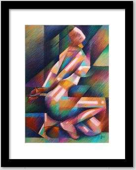 cubist nude pastel drawing framing example