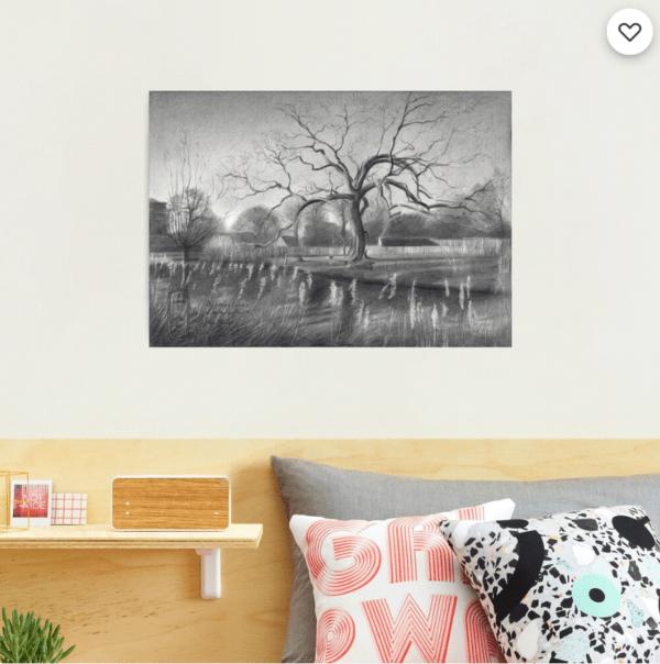 impressionist treescape graphite pencil drawing photographic print mockup