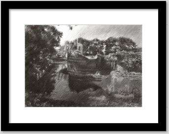 impressionist landscape graphite pencil drawing framing example