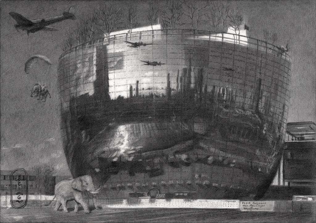 surrealist urban graphite pencil drawing