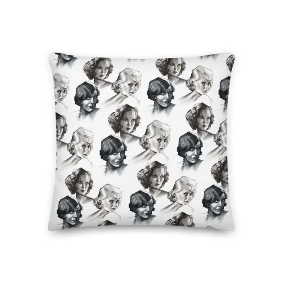 cubist portrait graphite pencil drawing pillow mockup