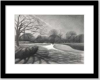 cubist landscape graphite pencil drawing framing example