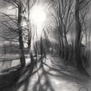 cubist treescape graphite pencil drawing
