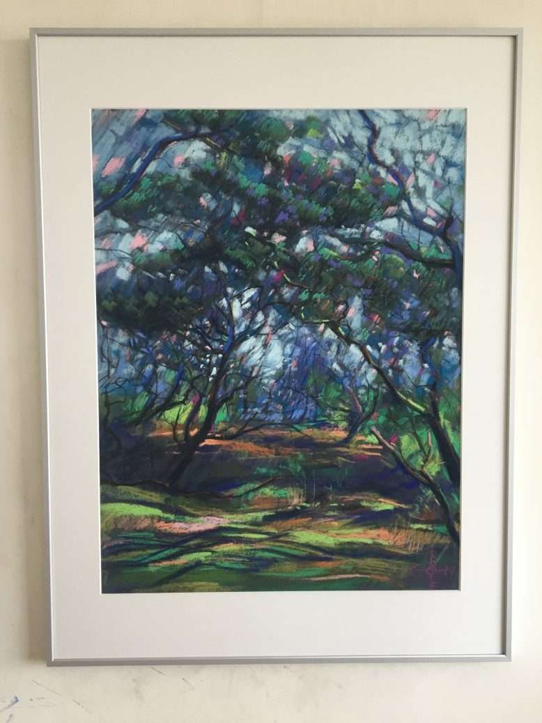 cubist treescape pastel drawing framed example
