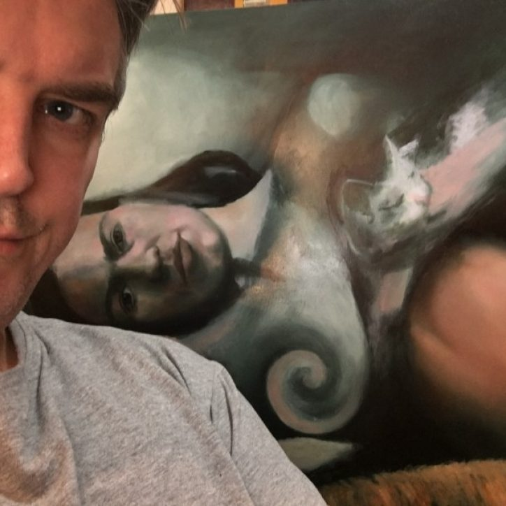 Corne Akkers with his oil painting Frida Kahlo